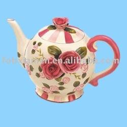 rose pattern handmade ceramic teapot