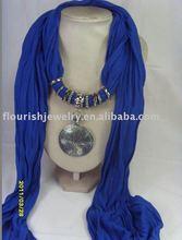scarf with jewellery , pendant scarf jewellery