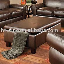 Genuine leather ottoman
