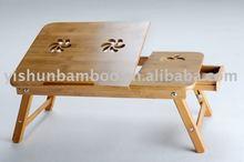 Adjustable and multifunctional bamboo laptop desk