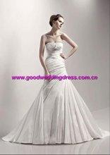 New style hot sale strapless taffeta tailing hand made wedding dresses