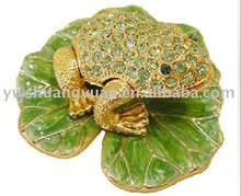 Fashion Metal Alloy Pewter Swaroski Rhinstone Crystal Enamel Frog Trinket Jewelry Decorative Box ZBH10026