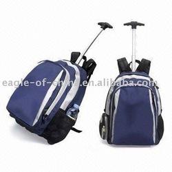 Blue travel laptop trolley backpack