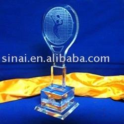 Nice Badminton Sports Crystal Trophy
