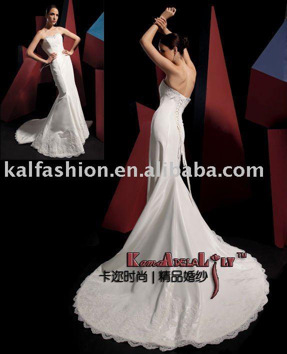 EB840 Fishtail style sweetheart neckline wedding dress long train white mini
