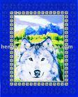 wolf print polyester fleece fabric