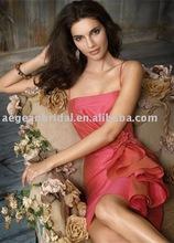 Style RZ-bd002 2012 hot sale spaghetti strap taffeta sheath knee length orange bridesmaid dress