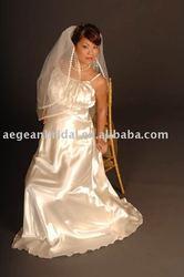 Best seller spahetti straps simple soft satin maternity bridal gown M062