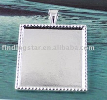 Silver plated Cabochon Settings Pendant Trays glue on bail picture frame Square Charms A13744SP