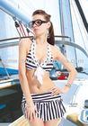 2011 newest arrival sexy white and black stripe bikini swimwear;fashionable beach wear for women