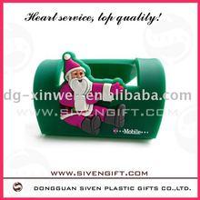 Father Christmas design folding soft pvc mobile phone holder