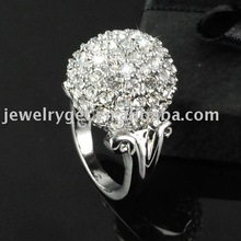 free shipping, 2011 fashion alloy rings with rhinestone ,silver effect ,qualiy rings ,RN-575