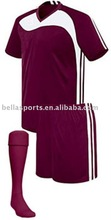 2012 soccer team kits short sleeve with sock,wine red with white match color