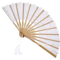 bamboo frame embroidery lace fan(for wedding decoration)
