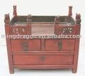 rojo chino antiguo de madera lacqured nicho para la estatua de buda
