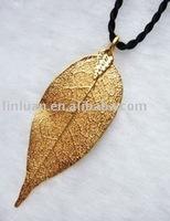 24K real gold plated natural leaf necklace