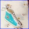 Bota de Plata encanto joyas de esmalte de joyería colgante