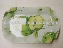 apple design decal glass plate
