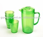 68 ounce clear plastic Beer/Beverage pitcher,w/set of 4glasses