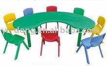 Plastic school desks and chairs