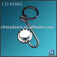 promotion fashion gift round metal stone bag hanger with key chain CD-BH061