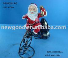 santanman on metal bike with wine holder