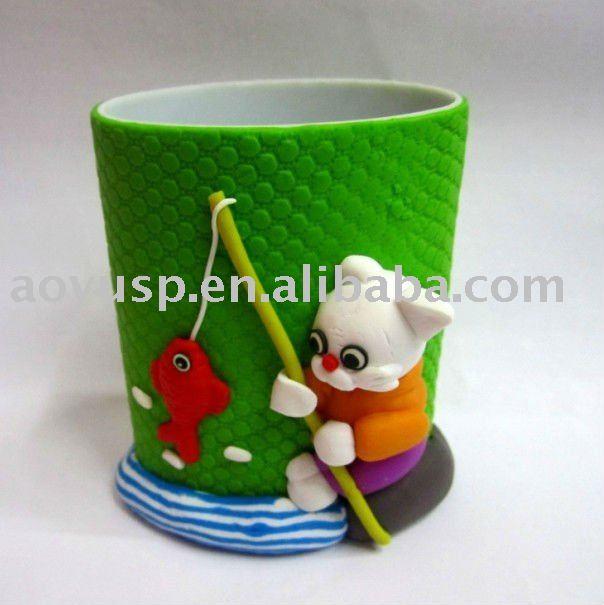 Polymer clay cute cartoon cat pen and pencil holder