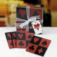 Poker Pattern Glass Drink Coasters/ Set of 4