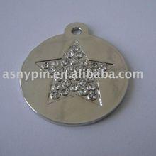 Star Dog tag/metal dog tag with stone