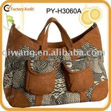 fashion ladies' printed canvas handbag with leather trim