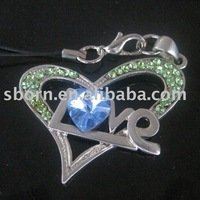 Promotional Heart Shape Crystal Mobile phone Danglers