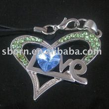 Promotional Heart Shape Crystal Mobile phone Danglers