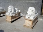 Pair of lion statues in marble stone