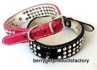 rhinestone leather dog collar genuine leather suede leather