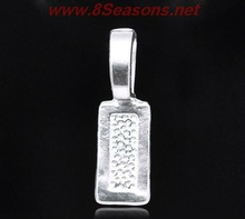 Silver Plated Tag Glue on Bail 26x8mm