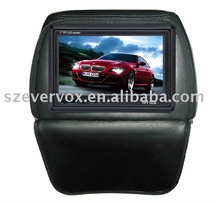 7 inch car lcd pillow seat monitor with ir transmitter headrest monitor cover