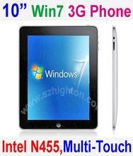 "10"" 10.2"" 10.2 inch Intel Atom N455 Multi-touch windows 7 Mobile Phone or Cell Phone or Smart Phone or SmartPhone 3G webcamera"