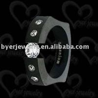 logo auto laser, cz stone black titanium rings