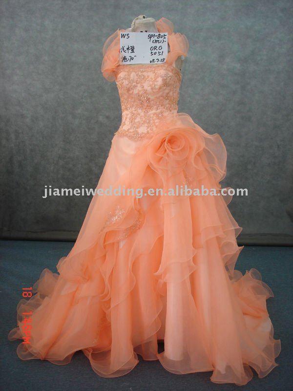 Halter Light orange organza asymmetrically bridal dress SP1805