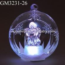 glass christmas angel hanging snow globe with LED light