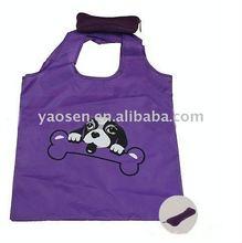 purple dog bone folding shopping bag