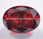 shiny facet transparent dark red oval0 loose color CZ Stone