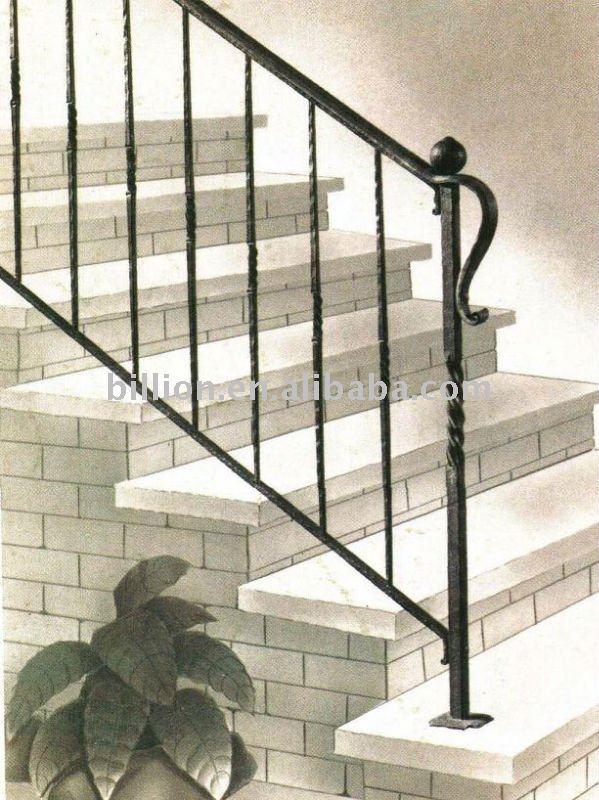 Escalera de hierro forjado de interior escaleras rectas - Pasamanos de hierro forjado para escaleras ...