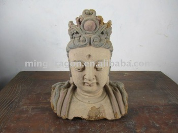 Chinese Antique Wooden Buddha Head Sculpture