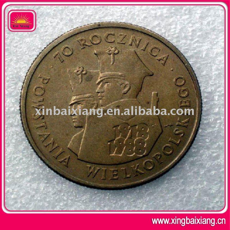 Moda aniversario de bronce valiosa rara de la moneda antigua