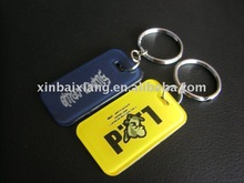 Custom logo style plastic mobile phone key chain