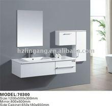 white wooden modern bathroom furniture=cabinet+mirror+vanity sink