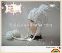 100% acrylic winter ear flap knitted cap