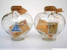 heart shaped wishing and luck glass bottle for people