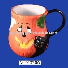 halloween mug pumpkin with cat design